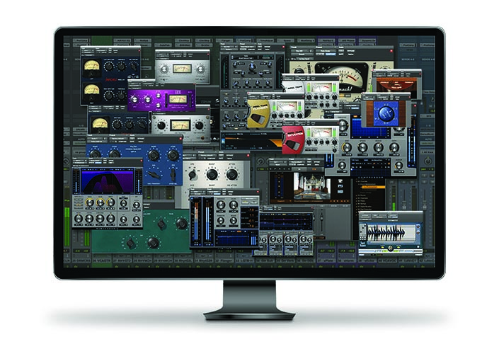 Collage of over 20 music software plugin interfaces overlaid on top of the Pro Tools interface in a computer display