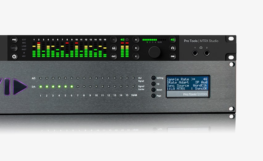 Pro Tools MTRX audio hardware for sound mixing front view